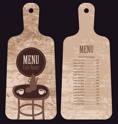 menu for the cafe in the form cutting board vector image