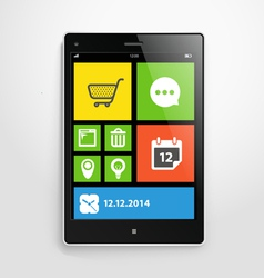 Modern mobile gadget with color interface vector image