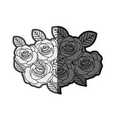 Monochrome silhouette roses bouquet decorative vector