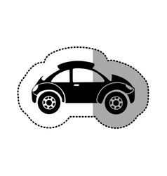 Monochrome silhouette sticker with sport car vector