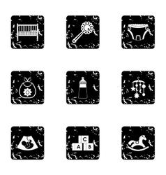 Newborn icons set grunge style vector image vector image