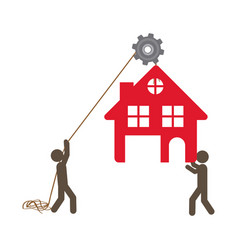 people with pulleys hanging the house vector image
