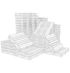 Pile of pallets vector