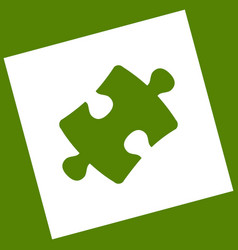 Puzzle piece sign white icon obtained as vector