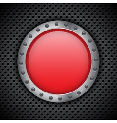 Red chrome button vector image vector image