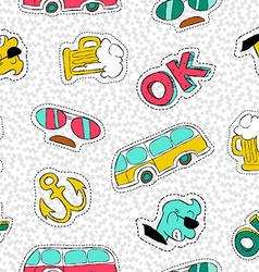 Retro hand drawn patch icon seamless pattern vector