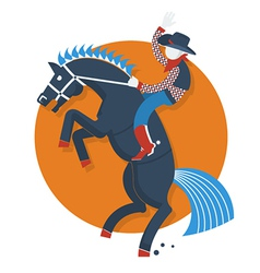 Rodeo posterCowboy on horse with text isolated on vector image