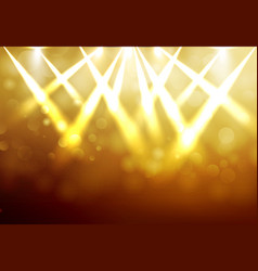shining gold disco spotlights with blured bokeh vector image vector image