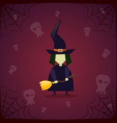 silhouette witch skull happy halloween banner vector image vector image