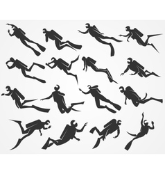 silhouettes divers vector image vector image