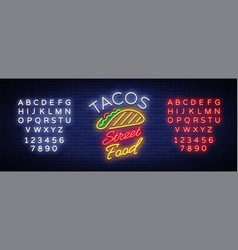 tacos logo in neon style neon sign bright vector image vector image