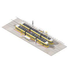 tram stop isometric icon set vector image vector image