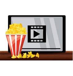 Video movie to watch tv with popcorn food vector