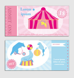Vintage set circus ticket template vector