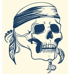 Vintage skull with feathers vector
