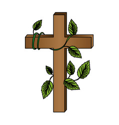 White background with colorful wooden cross and vector