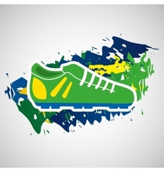 Football shoe olympic games brazilian flag colors vector