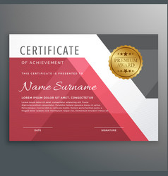 Elegant certificate template with geometric shapes vector