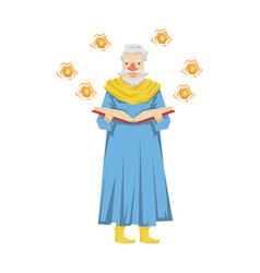 wizard holding a magic book magic balls flying vector image
