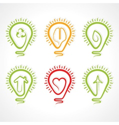 Bulb with different concept vector image