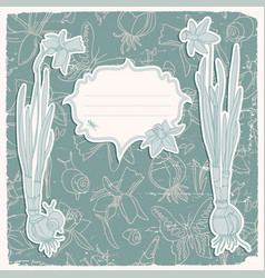 Daffodils flowers background vector