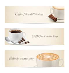 Collection of banners with coffee cups vector