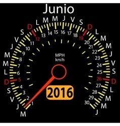 2016 year calendar speedometer car in Spanish vector image vector image