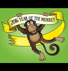2016 Year of the monkey cartoon parchment vector image