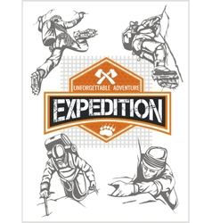 Rock climbing expedition set - expeditions emblem vector