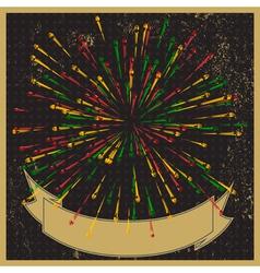 Stylish fireworks retro-style background vector image