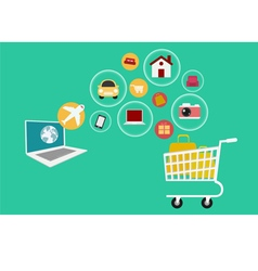 E-commerce set icons online shopping vector