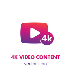 4k video content icon over white vector