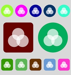 Color scheme icon sign 12 colored buttons flat vector
