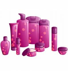beauty products with pink flower vector image