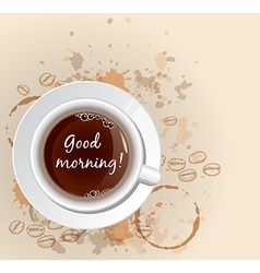 White cup of coffee and coffee beans vector