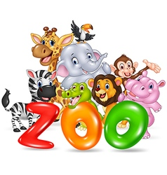 Word zoo with happy cartoon wild animal africa vector