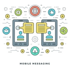 Flat line mobile messaging social network concept vector