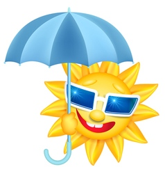 Smiling shines sun with umbrella vector