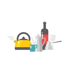 Tea and coffee set vector