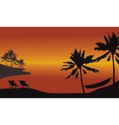 At afternoon beach scnery silhouette vector