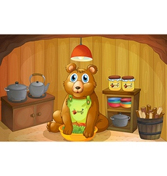 A bear inside the kitchen vector