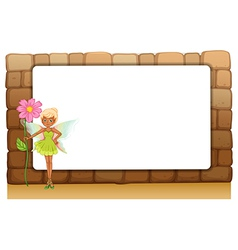 A fairy holding a giant flower beside an empty vector image vector image