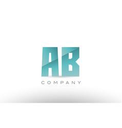 Ab a b alphabet letter green logo icon design vector