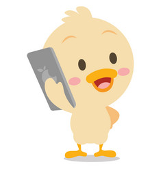art of duck with phone vector image