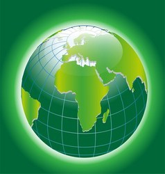 Background with Green Globe Icon vector image vector image