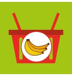basket shopping banana tasty fruit vector image