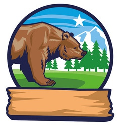 Bear mascot with narute background vector