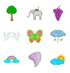 Biosphere icons set cartoon style vector