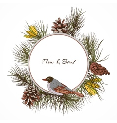 Bird pine branch label vector