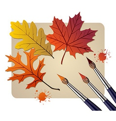 Brushes with autumn colors vector image